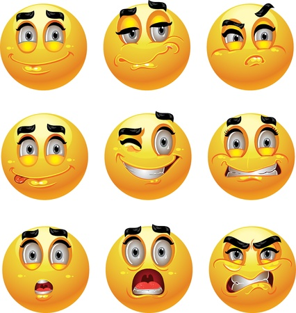 Set of batch from 9 emotion smiles  Vector
