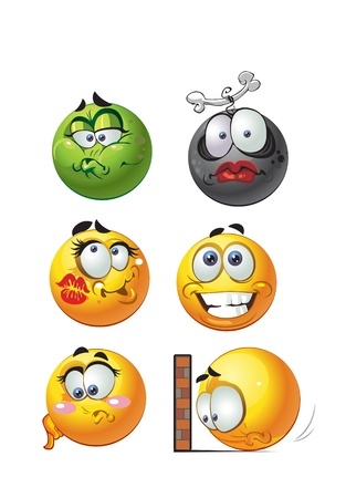 round emotion smiles Vector