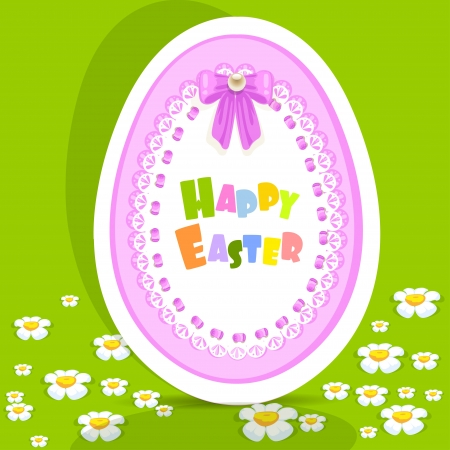 Egg-laced Easter postcard on green background Stock Vector - 17325318