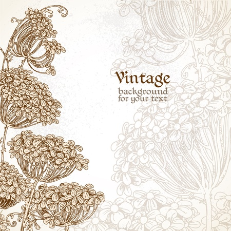 Wild flowers - umbrellas vintage background for your text Stock Vector - 17325321
