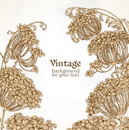 Wild flowers - umbrellas vintage background Vector