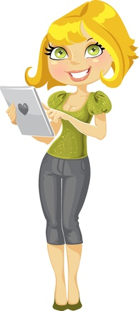 femme blonde: jolie fille blonde avec ordinateur tablette
