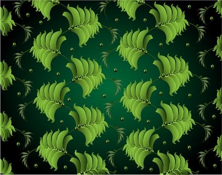 background from green leaves petrikovsky ornament Stock Vector - 17351728