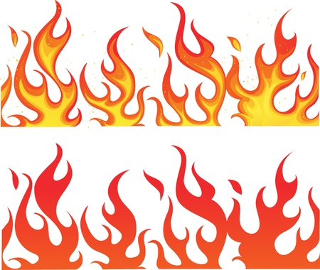 Hot fire on white Vector