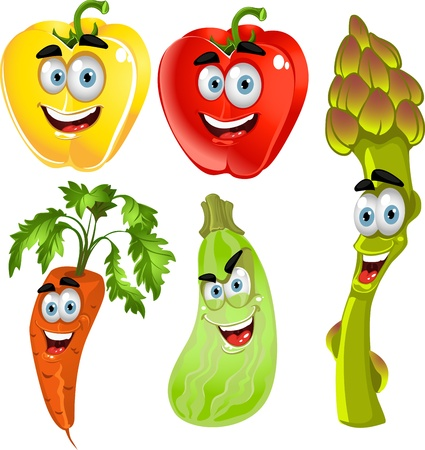 Funny cute vegetables - peppers, asparagus, carrots, zucchini  Vector