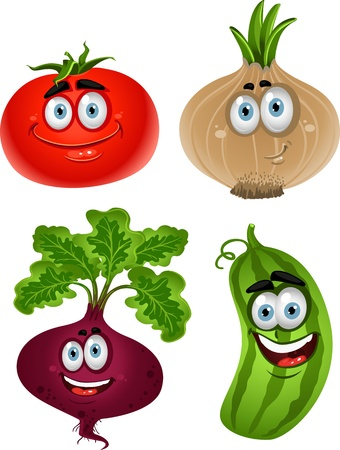 Funny cartoon cute vegetables - tomato, beet, cucumber, onion  Vector