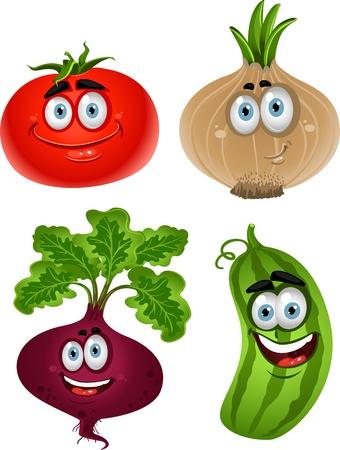 ojos caricatura: Verduras divertidos lindos de la historieta - tomate, remolacha, pepino, cebolla Vectores