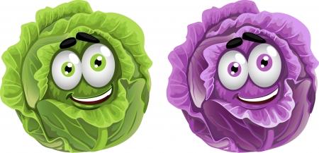 asperges: Hoofd van de pret paarse en groene kool Stock Illustratie