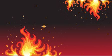 Hot fire on black banner Stock Vector - 17351572