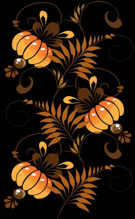 orange ornament on a black background  Vector