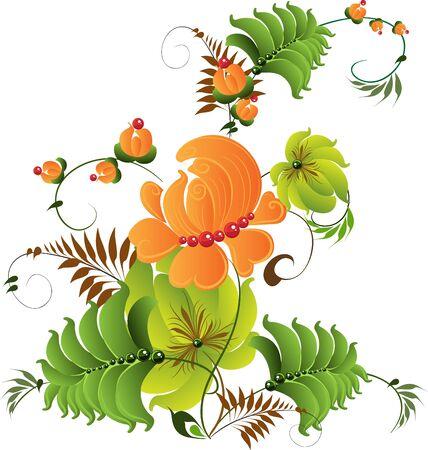 ornamental pattern composition  vector petrikovsky ornament Stock Vector - 17351725