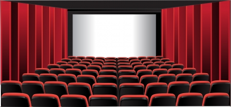 cinema scherm: Rood met room Stock Illustratie