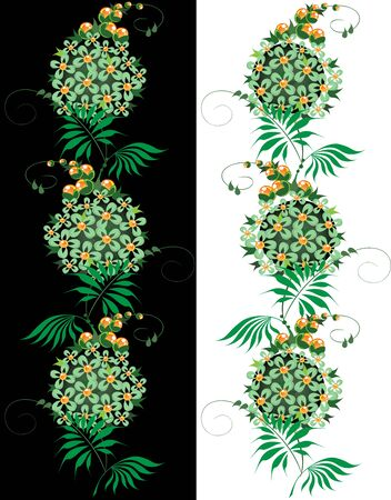 set of batch ornament from green and yellow Flower on black and white background Stock Vector - 17351724