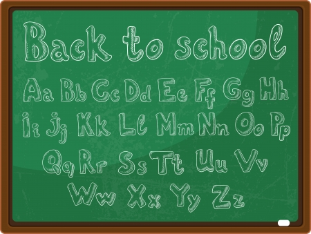 back to school - the school board with the handwritten alphabet  Stock Vector - 17351745