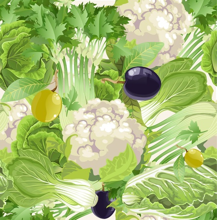 cauliflower: seamless pattern of green vegetables, celery, cauliflower, olives, cabbage      Illustration