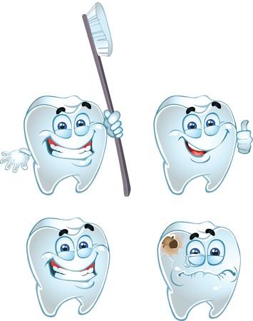 dientes caricatura: Dentes inteligentes aislados en fondo blanco