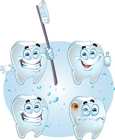dientes con caries: Dentes inteligentes en el fondo h�medo
