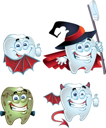 carious: Halloween Tooth character dressed in fun costumes