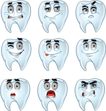 cavities: set of batch cartoon dent smiles