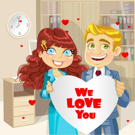 Cute business man and woman in office holding banner heart We love you Stock Vector - 17381053