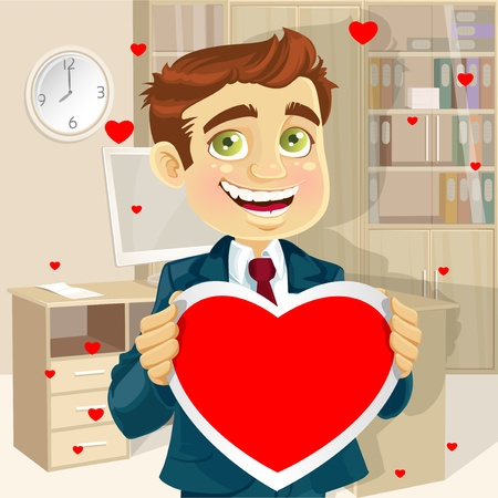 good looking man: Cute businessman in office holding a valentine greeting Valentine s day Illustration