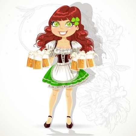 st patrick s day: Ragazza carina con bicchieri di birra in giorno un vestito di St Patrick s