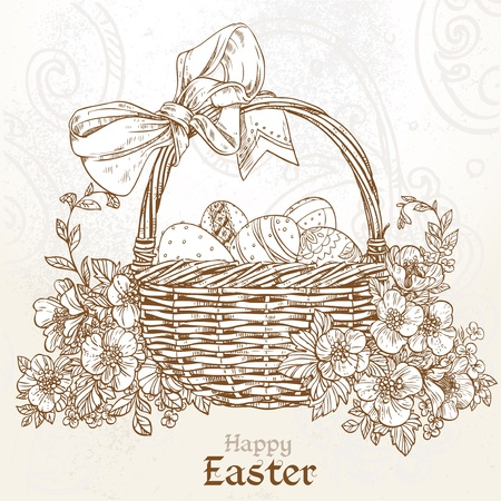 Happy Easter card with a basket of Easter eggs in vintage colors Vector