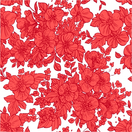 scarlet: Beautiful seamless pattern of wild scarlet flowers