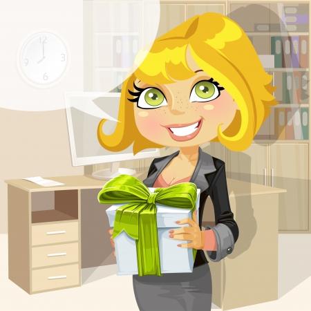 employ� heureux: Femme d'affaires dans le bureau matin donne un cadeau de l'entreprise