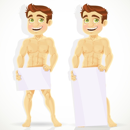 naked abs: Cute naked man with posters for your message