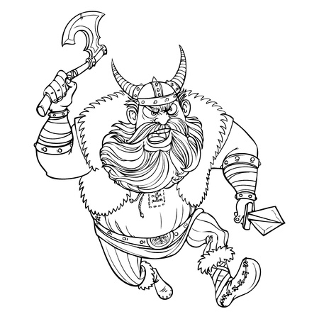adventure story: Ferocious Viking running with an ax at the enemy line drawing