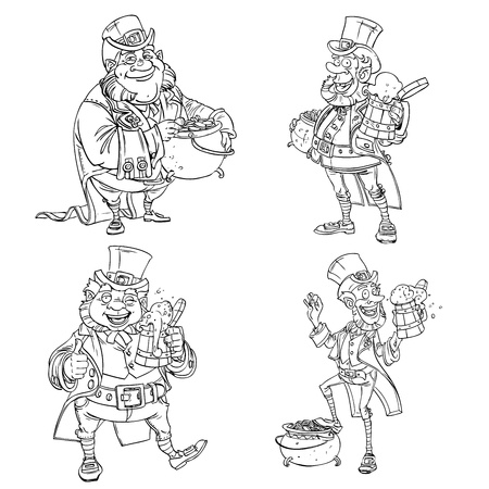 Line art coloring Leprechaun with beer and gold  Vector