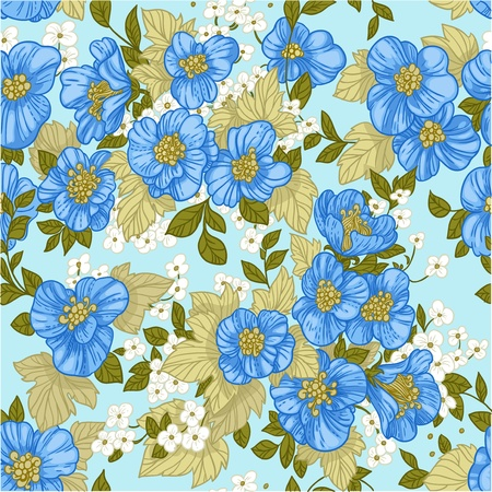 Seamless pattern of blue wildflowers Stock Vector - 17525272