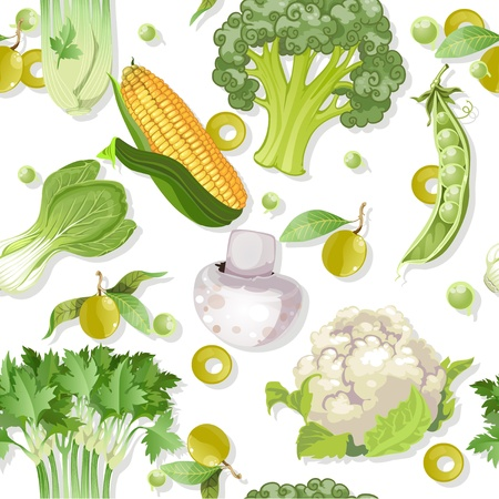 cauliflower: Seamless vegetarian vegetable green ornament Illustration