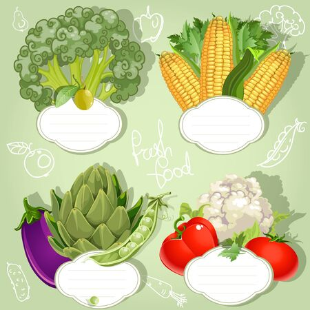 Vegetarian menu - banners with the field for your text Stock Vector - 17525269