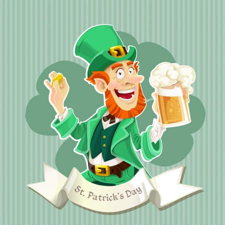 Cute Leprechaun with a beer - Poster Vector