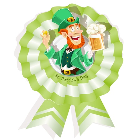 Rosette on St  Patrick s Day with Leprechaun with beer Stock Vector - 17525287