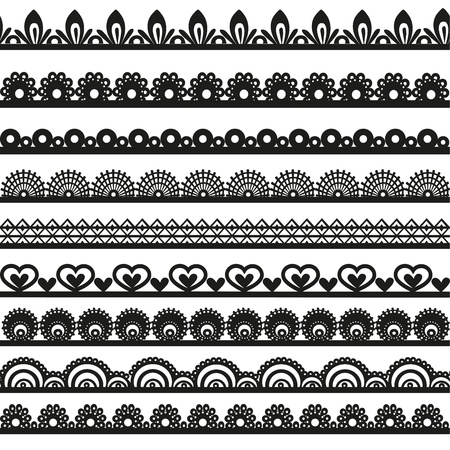 Grote set van opengewerkte kant grenst zwart silhouet voor uw ontwerp Stock Illustratie