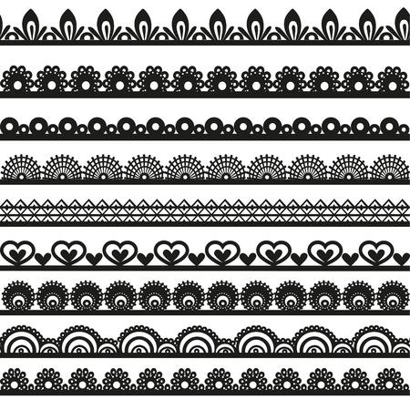 Large gamme de dentelle ajourée borde silhouette noire pour votre conception