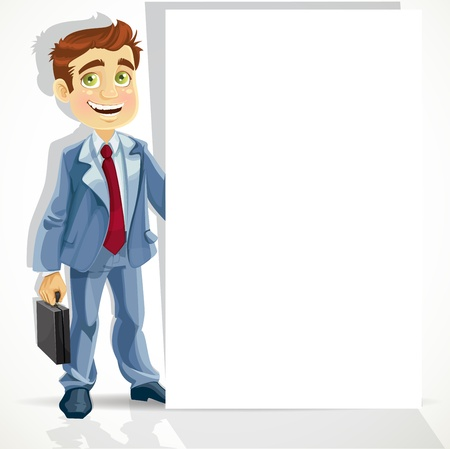 Cute businessman hold big blank banner Stock Vector - 17525286