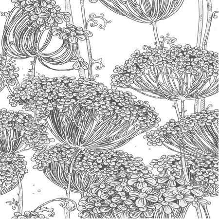 flower line: Vintage grey seamless pattern of wild flowers graphics