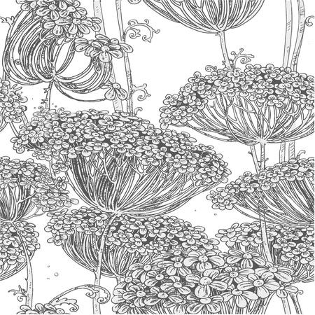 Vintage grijze naadloze patroon van wilde bloemen grafische