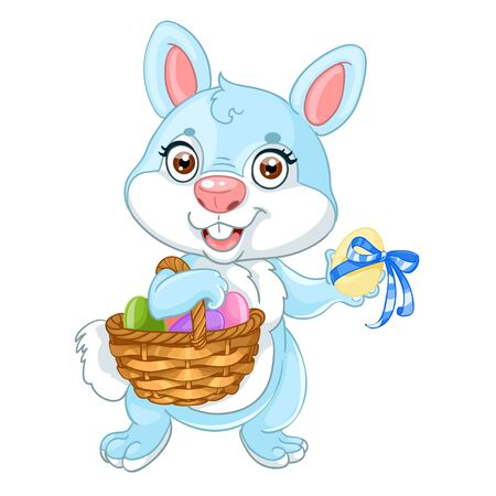 Cute easter bunny with basket of eggs Stock Vector - 17525297