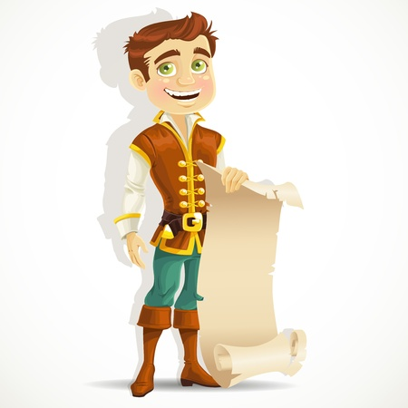 Cute prince with a scroll of parchment for your banner Vector