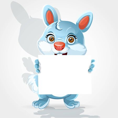 Cute little bunny holding banner Stock Vector - 17525300