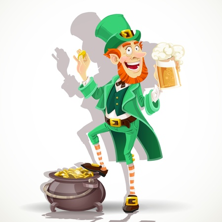 Cute Leprechaun drinking beer and protects pot of gold coins Vector