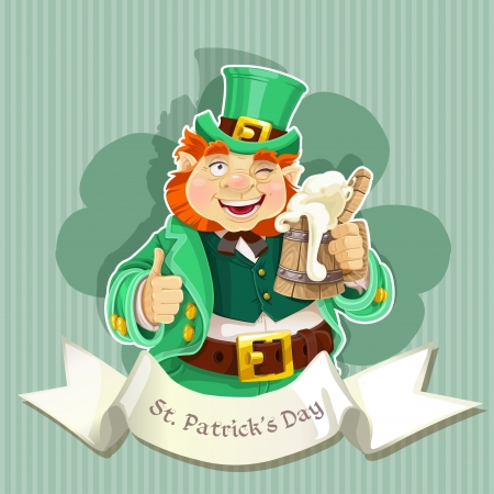 Cute fat Leprechaun   Poster St  Patrick s Day  Cute fat Leprechaun   Poster St  Patrick s Day  Vector