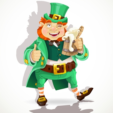 Cute fat Leprechaun with a pot of ale froth Vector