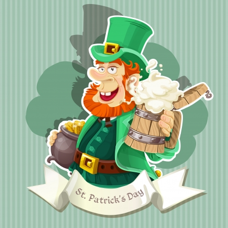 Leprechaun with beer and pot of gold - Poster  Vector