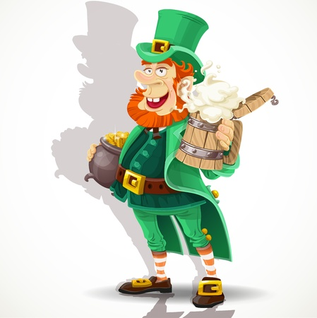 Cute Leprechaun with beer and pot of gold  Vector